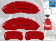 MGP Brake Caliper Covers Red Paint Custom Black Logo 2002-2005 Ford Thunderbird