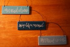 Set of 3 Mermaid Beach Home Decor Signs SWIM LIKE A MERMAID - MERMAID DREAMS