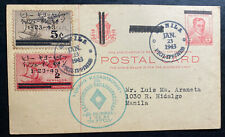 1943 Manila Philippines Japan Occupation PC Cover Executive Commission FDC