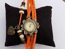 Donna Qualità Retro arancione in pelle Bracciale cuore Orologio da polso al quarzo