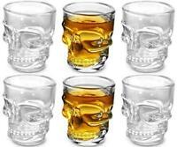 KOVOT Skull Shot Glasses, Set of 6, 1.5 oz, Clear