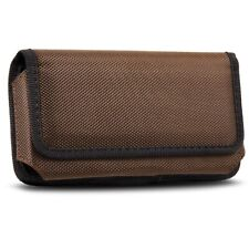 Brown Horizontal Cell Phone Pouch Case Belt Clip Holster For iPhone & Samsung