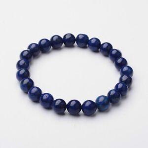 Natural Lapis Lazuli 8mm Bead Stretch Bracelet Chakra Healing UK