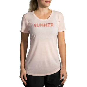 Brooks Womens Distance Graphic Running T Shirt Tee Top Pink Sports Breathable