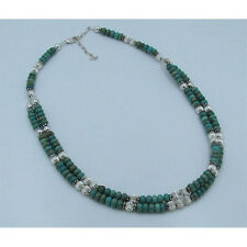 2 Strand .925 Sterling Silver Natural Green Kingman Turquoise Rondell Necklace