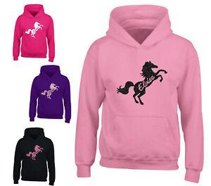 Personalised Glitter Horse Riding Hoodie Girls Boys Pony Hoody Kids Top Jumper