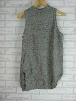 SUSSAN Vest Top Knit Style Sz  Grey, Black 100% Cotton
