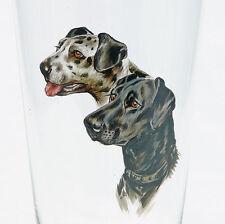 Becher Bierglas Emailmalerei Hunde Dalmatiner Pointer Setter signiert handgemalt