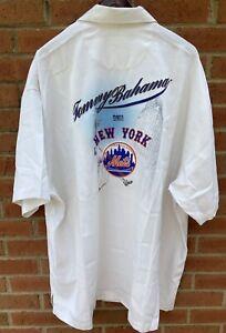 $250 TOMMY BAHAMA MENS NEW YORK NY METS HAWAIIAN WHITE SILK CAMP SHIRT XXL 2XL