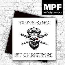 'Skull King' hand made tattoo style Christmas card with gem stone eye