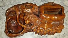 Rare Vintage Swiss Black Forest Wood Rat grapes Cigar, Match Holder and Ashtray