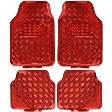 carXS 4pc Rubber Vinyl Floor Mats Metallic Shiny Red Front & Rear Heavy Duty