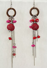 """Colorful Mixed Media Dangle Pierced Earrings Mesh Wood Chain Red Pink 5"""" Long"""