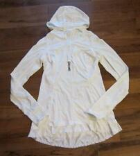 LULULEMON RUN IN THE SUN PULLOVER IN WHITE SIZE 6 with hood and scoop back hem