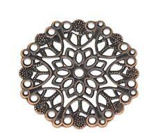 Copper Tone Filigree Flower Wraps Connectors 35mm- 10pcs.