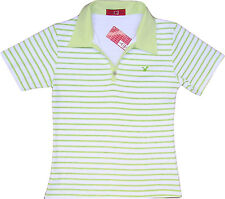 Sexy Ladies Tokyo Polo Stripe White Green Womens Tshirt T-Shirt 10-12 Medium New