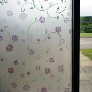 PURPLE FLORAL FROSTED PRIVACY DECORATIVE WINDOW FILM - 90cm x 1m Roll WT006
