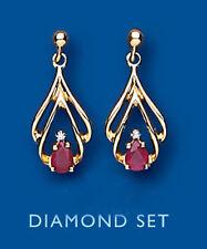Unico Wishlist 9kt Oro Giallo Rubino E Diamante Aperto Trendy Pendenti AP6616