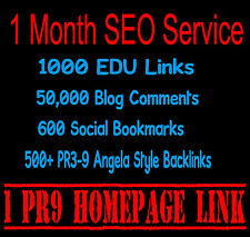 1 Month SEO Service 1000 EDU Links Blog Comments Senuke High PR9 GOV Backlinks