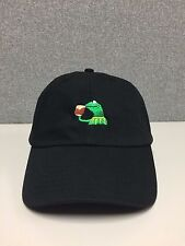 Kermit None of my Business StrapBack Hat Frog Sipping Tea Emoji meme Cap Pop NEW