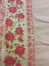 Vintage~Shabby~Pink Roses~Flat Sheet Cottage Chic Cannon