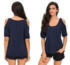 Ladies Blue Scoop Neck Cold Shoulder Over-sized Top Blouse t-shirt size 8-10-12