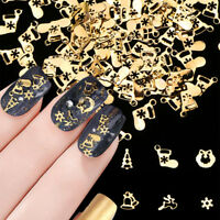 Christmas 3D Gold Snowflakes Nail Art Glitter Sequins Slices Decals Decor Tips