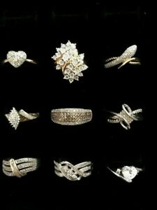 LOT OF 9 STERLING SILVER RINGS SOME MARKED VINTAGE SZ 7 TINY DIAMOND ACCENTS 925