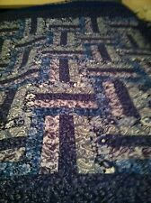 Beautiful Blue Rail Fence Quilt, Queen Size