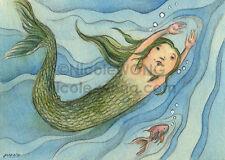 ACEO PRINT - Swim - mermaid, ocean, fish, children, girl, fantasy art, painting