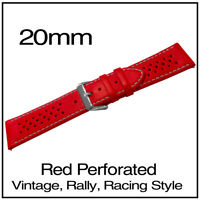 • 20mm Red Perforated Luxury Leather Vintage Racing Rally Style Watch Strap •