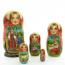 5 Poupées russes H18 peint main signé Matriochka Gigognes Nested Doll Matrioshka
