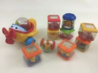 Fisher Price Peek A Boo Blocks Baby Toys Pigs Duck Animals Lot of 11 with Plane