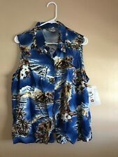 Hilo Hattie Womens Blue Ocean Palm Hibiscus Sleeveless Button Up Top Size Large