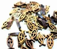 50 PCS Small FISH OLIVE WOOD cross Pendant rosary Handmade Holyland Bethlehem