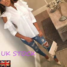 UK OL Womens Cut Out Shoulder Ruffle Frill Shirt Long Sleeve Tops Casual Blouse