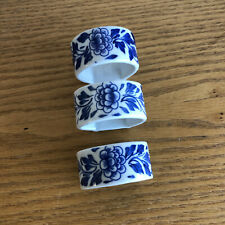 """3 China Napkin Rings Blue and White Porcelain D 2"""""""