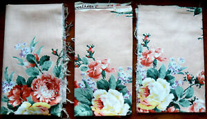3 Pcs of Vintage Sweetheart Rose Cotton Chintz FABRIC, Waverly Fabrics, Old Rose