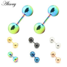 2x Stainless Steel Barbell Ear Cartilage Tragus Helix Stud Bar Earring Piercing