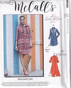 McCalls Sewing Pattern 8086 M8086 Women's Shirt Dress Pattern Size 6-14 NEW