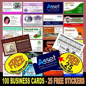 100 BUSINESS CARDS  25 FREE STICKERS. QUALITY WHITE CARD FREE DOUBLE SIDED PRINT