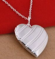Silver Locket 925 Sterling Silver Heart Photo Charm Pendant Necklace Jewellery