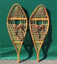 Vintage SNOWSHOES 42x14 Snow Shoes LEATHER BINDINGS NICE DECOR