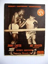 1951 WORLD LIGHTWEIGHT CHAMPIONSHIP JIMMY CARTER v ART ARAGON BOXING PROGRAM