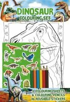 KIDS DINOSAUR COLOURING SET WITH STICKERS & PENCILS CRAFT BOYS DINO NEW