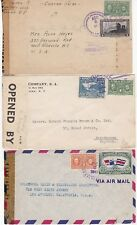 PANAMA x 3 1940s STAMPED COVERS CENSORED DURING WW2 TO USA & NOTTINGHAM UK