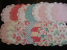 FLOURISH DIE CUT DOILY SHAPES PATTERNED PAPER RETRP ROLLER SKATES GIRL