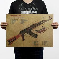 Gun AKM Assault Rifle AK47 Modified Structure Chart Kraft Paper Poster Art Decor