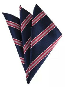 Men's Pocket Square Blue Red & Silver Striped Polyester Handkerchief