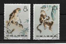 CHINA 1963 SNUB NOSED MONKEYS 8f+10f USED  SG 2121/22  MY REF 1395